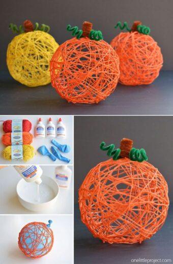 Yarn and Glue Pumpkin Fall Craft For Kids
