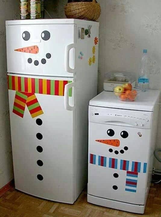 Easy DIY Chrostmas Decor Snowman Fridge