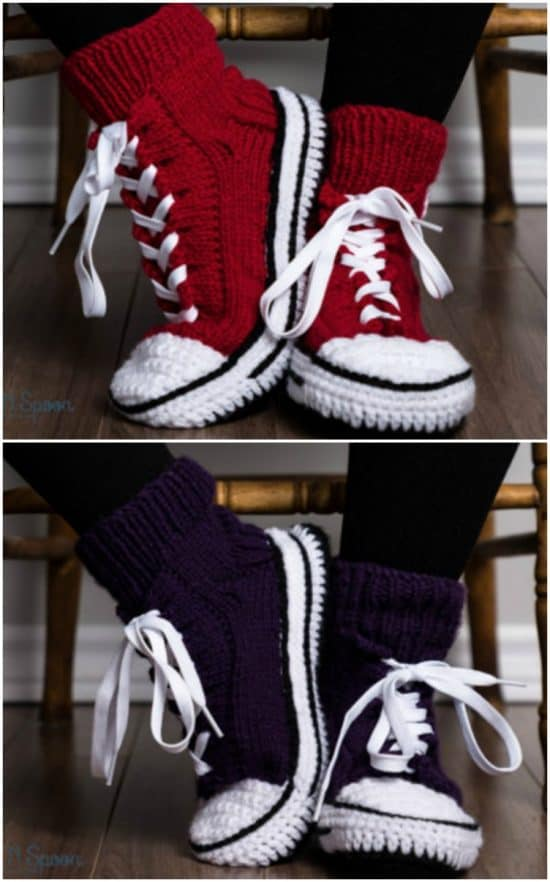 DIY Crochet Converse Slippers with FREE Pattern and how to video tutorial. The best free crotchet patterns and tutorials. Cute, trendy outfit ideas for Spring Summer. Also makes a great gift.