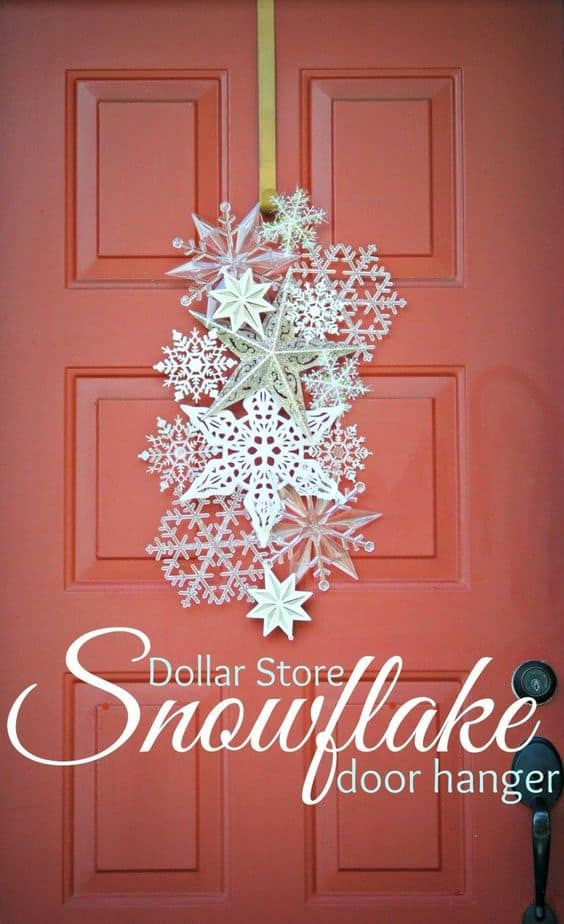 Easy DIY Dollar Store Snowflake door hanging. Simple yet beautiful dollar store craft idea anyone can make, even kids. For weddings, or a party.