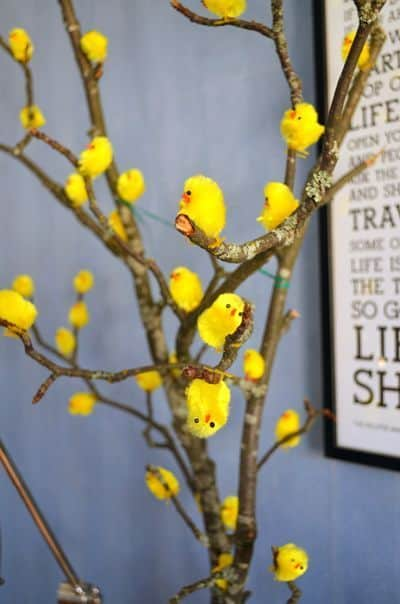 Easy Dollar Store DIY Easter Tree with chicks craft decoration idea for Spring