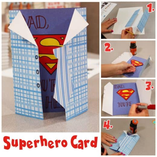 DIY Super Hero Father's Day card craft