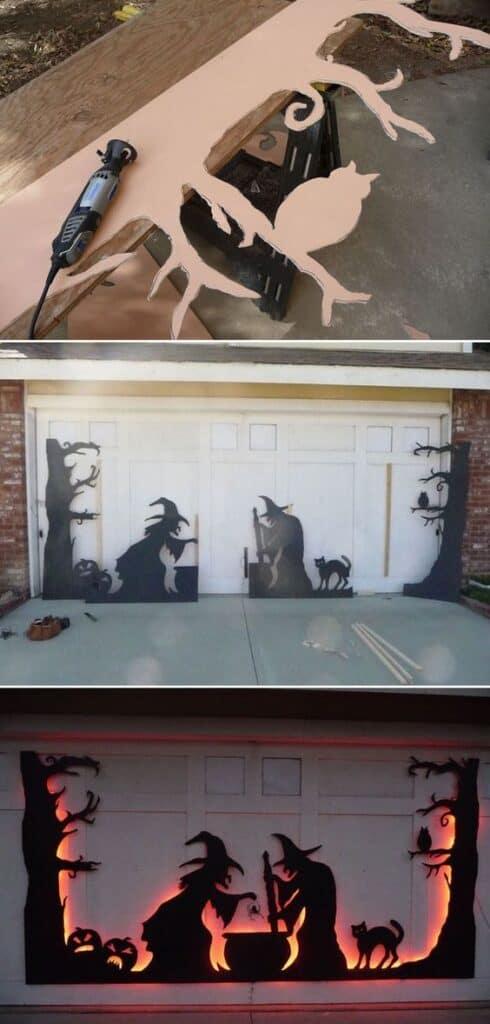 Garage Door Witches Decor