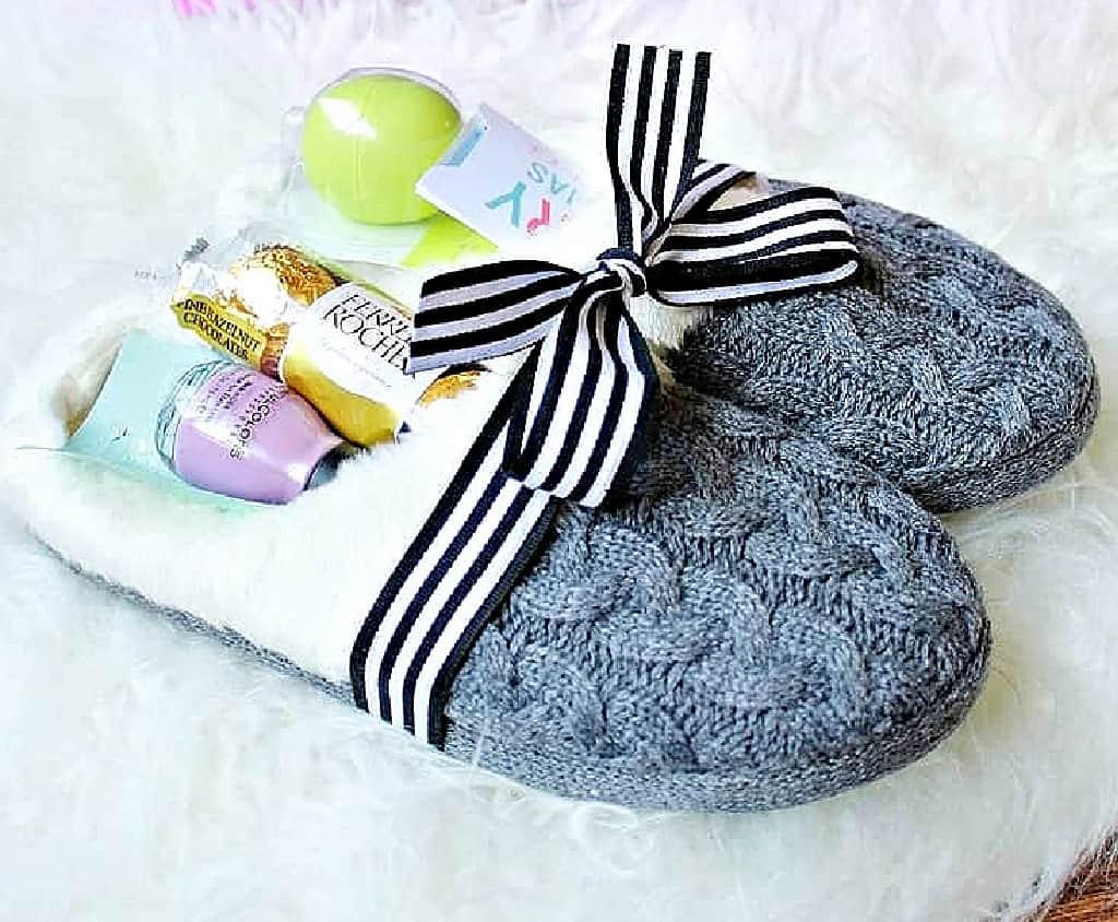 Slippers gift basket idea