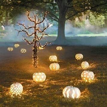White Lighted Pumpkin outdoors