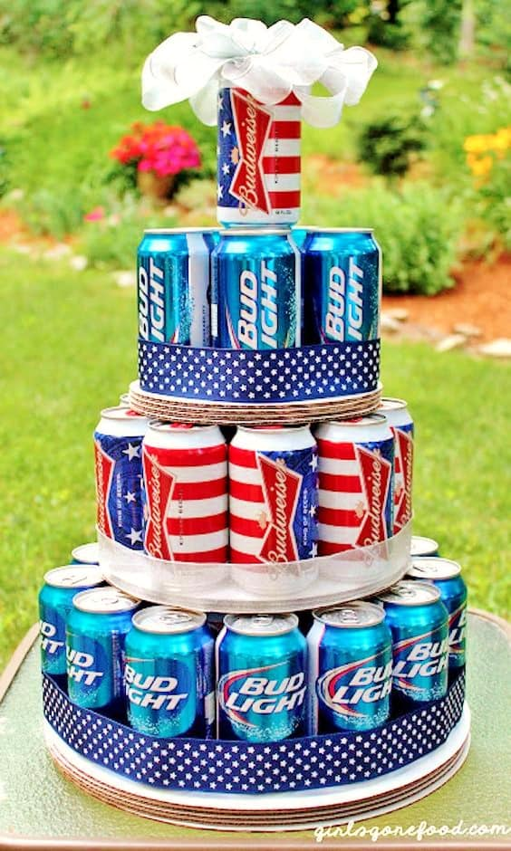 Beer Cake. Easy DIy 4th Of July Party ideas.. #Patriotic