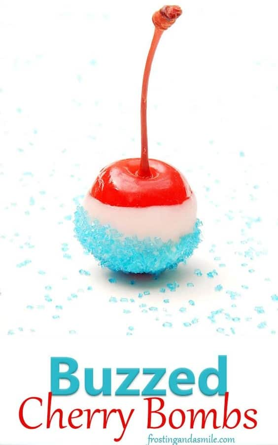 Easy DIY 4th of July party ideas using fruit. Alcoholic cherry idea #patriotic #4thofJulyDesserts