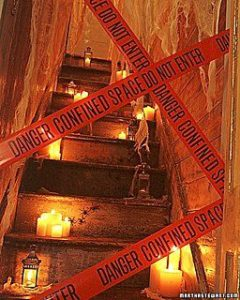 The Best Halloween Party Decorations That Will keep Guests Out of your rooms and in the party zone using caution tape and candles. Perfect dollar store idea.