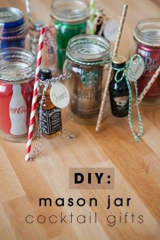 Airplane bottle mason jar cocktail gift basket idea