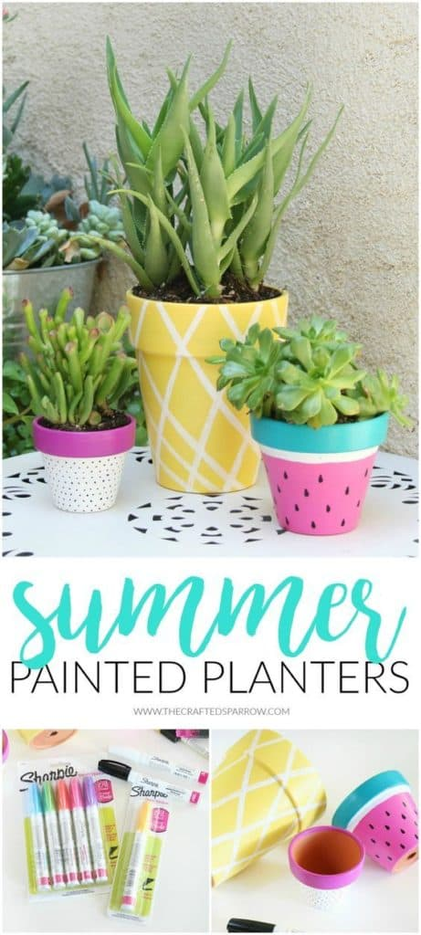 Easy DIY fruit flower Pot Idea Kids can make for Mothers Day with Sharpies. A great last minute gift idea for Mom's, GrandMother, or Grauntie. On a budget idea.