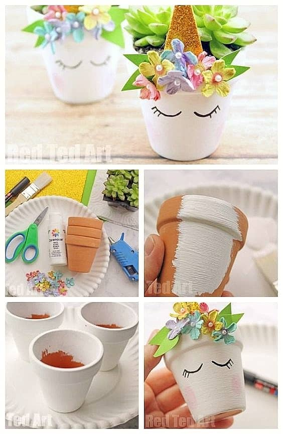 Easy DIY unicorn Flower Pot Idea Kids can make for Mothers Day. A great last minute gift idea you an do for Mom's, GrandMother, or Grauntie. On a budget idea.