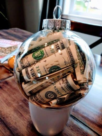 Easy DIY Money Christmas Ornament craft, and gift idea. Great for kids, teens, guys, friends, and family.