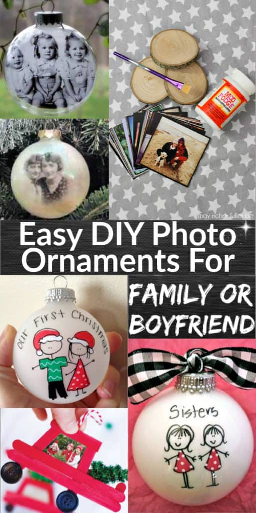 Easy DIY Photo Tree Ornament Christmas Gift Idea for Mom, Grandparents, boyfriend, and bestie. Creative cheap Christmas craft gift for kids to make. #ChristmasTreeIdeas #Rustic #DIYGifts #ChristmasCrafts