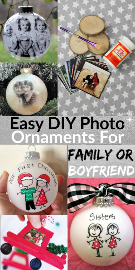 Easy DIY Christmas Photo Ornaments gift ideas for Mom for Grandparents for boyfriend and for family! Creative and simple homemade wood crafts gift even kids can make. #rustic #ChristmasCrafts #DIYGifts