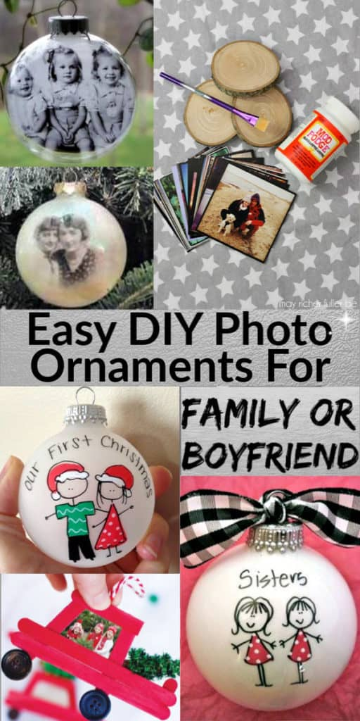 Easy DIY Photo Tree Ornament Christmas Gift Idea for Mom, for Grandparents, for boyfriend, for family, and best friend. Creative cheap Christmas craft gift for kids to make. #ChristmasTreeIdeas #Rustic #DIYGifts #ChristmasCrafts