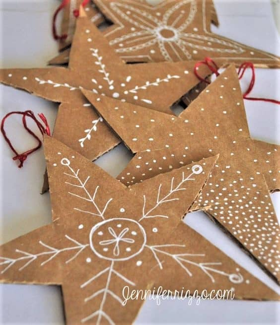 Easy DIY Cardboard Star Ornament. Simple yet beautiful dollar store craft gift idea anyone can make, even kids #rustic