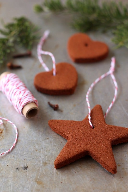 Easy DIY scented cinnamon Christmas ornaments that look store bought. Great, simple, craft gift for kids, teachers, neighbors, and friends.