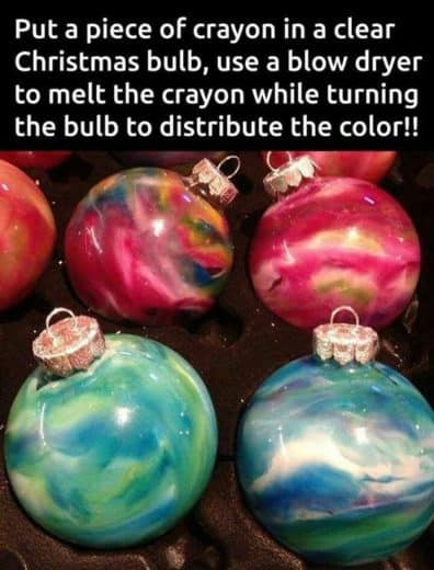 Easy DIY Crayon Christmas Ornament craft, and gift idea using a glass ball ornament, crayons, and a blowdryer. Great for kids, teens, friends, teachers, and ornament making party.