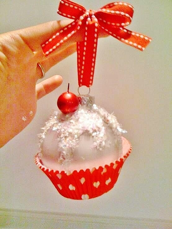 Easy DIY Cupcake Christmas Ornaments that look professional. Made from regular ball ornaments, glue, cupcake liners, and glitter you'll actually want to keep these ornaments or give them as gifts.