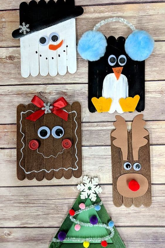 Easy DIY Popsicle Christmas Character Ornament. Simple yet beautiful dollar store craft gift idea anyone can make, even kids,