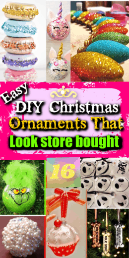 Easy DIY Christmas Ornaments That Look Store Bought. Make great Christmas gifts for friends, kids, teens, boyfriends, girlfriends, moms, family, and yourself. Everything from glitter Unicorns to comic book characters to the Grinch.