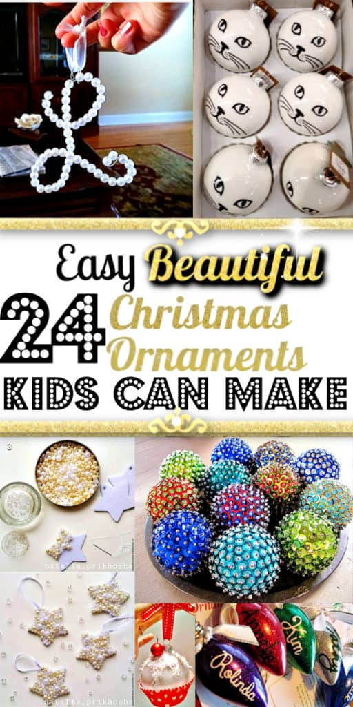 Easy DIY Christmas Ornaments kids can make for crafts or gifts. Great decorations and ideas.