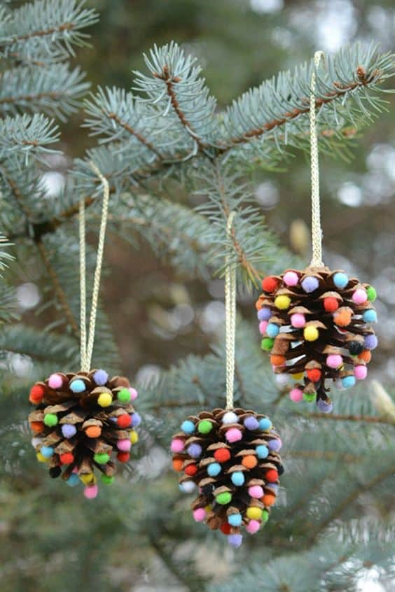 Easy DIY Pincone pom pom Ornament. Simple yet beautiful dollar store craft gift idea anyone can make, even kids
