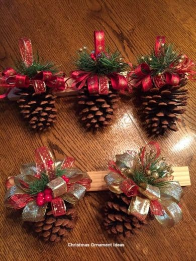 Easy DIY Pinecone Christmas Ornament craft, and gift idea. Great for kids, teens, friends, teachers, and weddings.