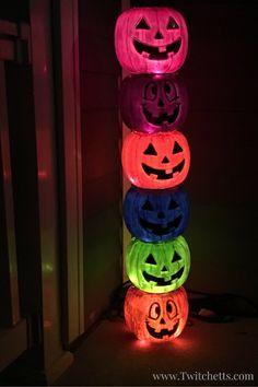 Halloween Decor Made out of Pumpkin Pails