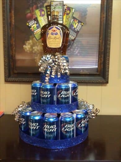 Easy beer and whiskey tower DIY gift basket idea for men.